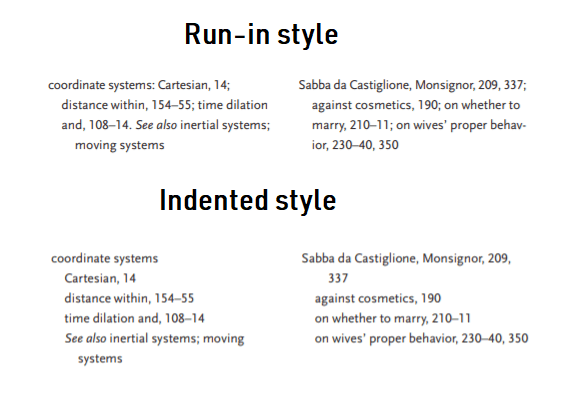 run-in style indexing and Indented style indexing